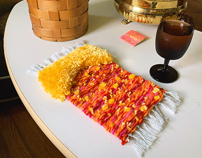 Yellow Fluffy Woven Tapestry