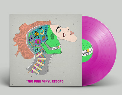 Robotgirl and Skull vinyl cover design