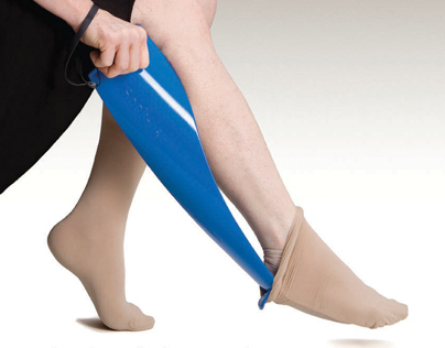 SOCK-EEZ, an innovative compression stocking doffer.