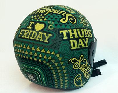 Week Ride - Hand drawn typography on helmet