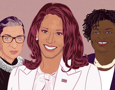 Portraits: Kamala Harris, Stacey Abrams, RBG