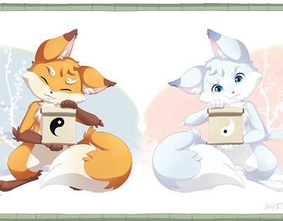 Yin Yang foxes Akiro and Fuyu