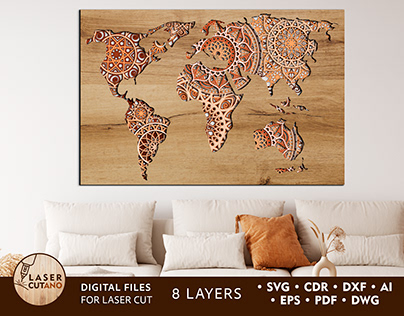 WORLD MAP Multilayer Laser Cut Files
