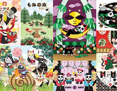 羽化・もみの木・変な狐が出たぞ!?・ハンモックパンダ・猫と夜食パンダ・和室猫と茶飲みパンダ・パンダミュージック