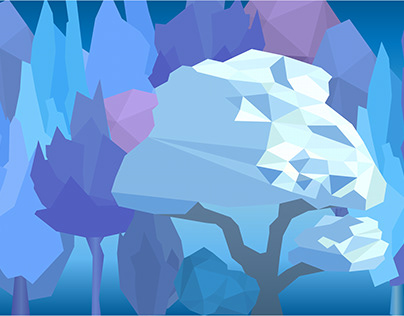Low poly winter trees