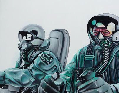 Wingman, oil on canvas, 4 x 6 feet.