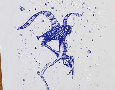 El vuelo profundo del pájaro pez.