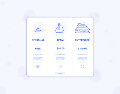 Product/Service Pricing Page Design