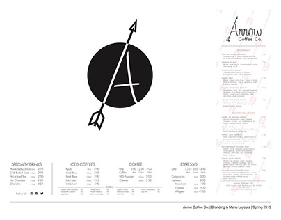 Arrow Coffee Co - Branding & Menu Layout