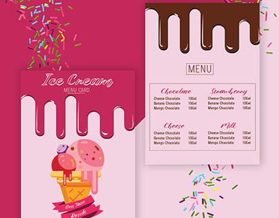MENU CARD FOR ICE CREAM CAFE