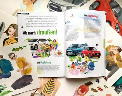 Suzuki Way of Life magazine illustrations