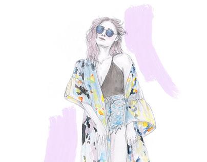 Boho fashion illustration