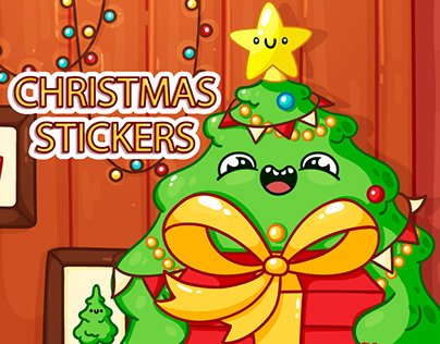Set of Christmas VK stickers