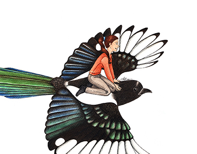 Painting of a Magpie