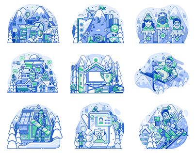 Ski Resort Gamification App Illustrations