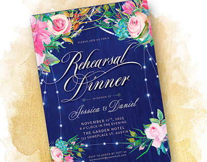 Rustic Blue Pink Floral -add event- Invitation template