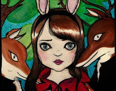 Little Red rabbit girl and the foxes