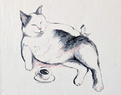 Wall Painting, a laid cat