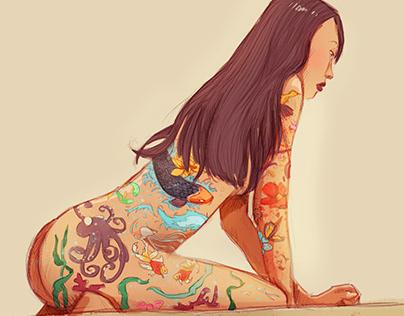 Asian girl   Illustration