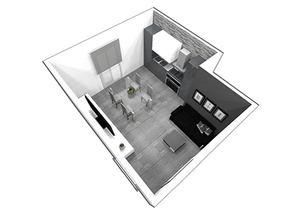 Small open space kitchen