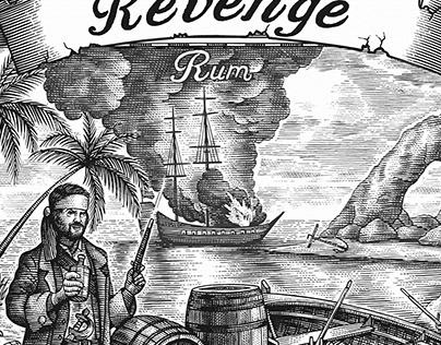 Revenge Rum Logomark Illustrated by Steven Noble