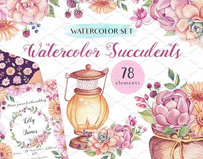 Watercolor Succulents Design Set
