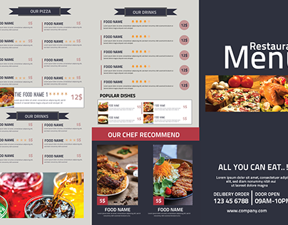 Restaurant Tri-Fold Food Menu