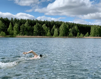 Freediving in the lake in spring