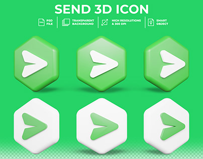 Realistic 3d Send Button isolated 3d icon