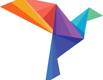 Colorful, Origami Style Icon for AirLine Service