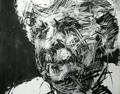 "Quick sketch ""M. Theodorakis"", charcoal 100 x 70 cm."