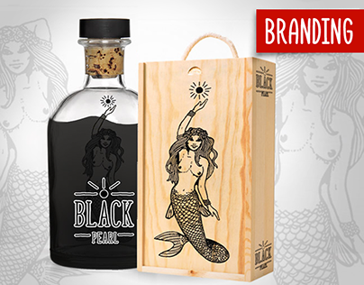 """Black pearl"" Branding and illustration for alcohol"