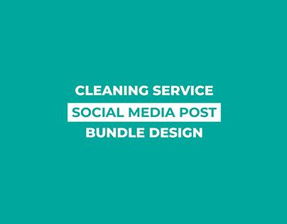 Cleaning Service Social Media Post Bundle Design