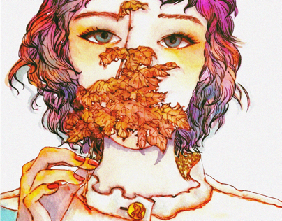 The girl with the maple leaf