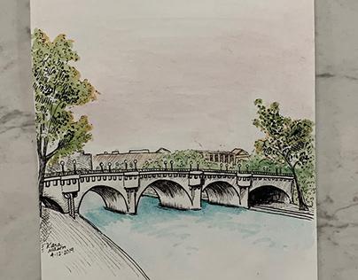 Pen and Watercolor: Seine Blush