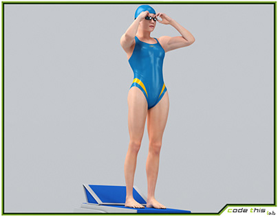 Female Swimmer Animated HQ 3D model