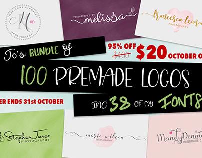 38 FONTS & 100 LOGO templates. OFFER ENDS 31st October