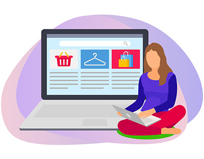Woman searching products in online shopping website