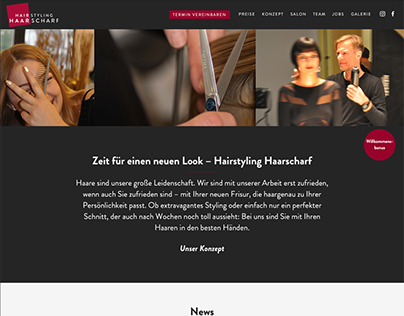 Website Hairstyling Haarscharf