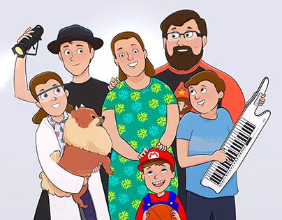 Family Cartoon Portrait | Digital Art Commission