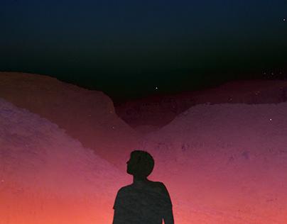 The sunset and desert