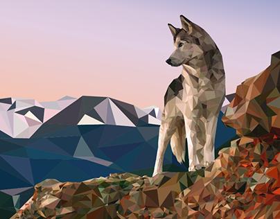 Low-Poly Wolf Dog Sunrise