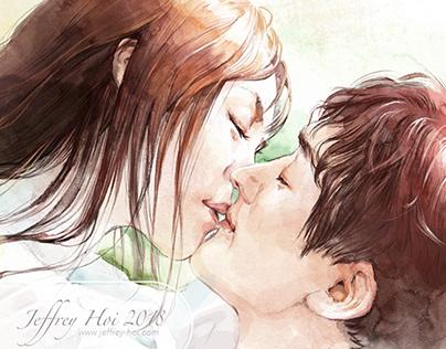 watercolor kiss