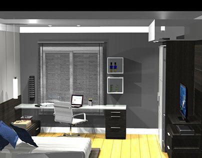 Dormitório com escrivaninha