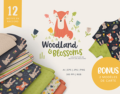 Surface Pattern Design - Woodland and Blossoms
