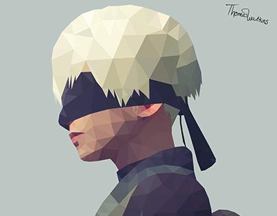 9s Nier Automata Polygon art