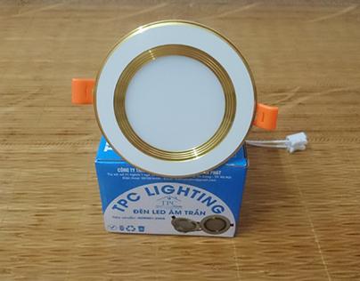 Mẫu đèn led âm trần 3 màu D90 7w viền vàng