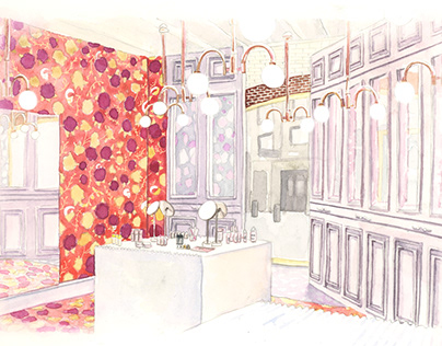 Glossier interior illustration | Stylist Magazine