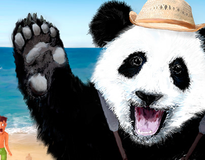 Tourist-panda. Vacation illustration.