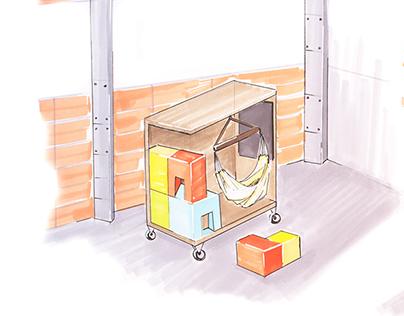Mobilier modulaire pour le Lieu Unique - Design produit
